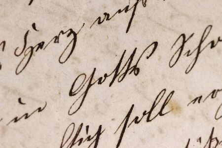 Historic Handwriting Style Closeup, Focus on the German Word