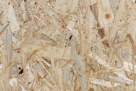 Waste Wood Recycling: Section of an Oriented Strand Board Standard-Bild