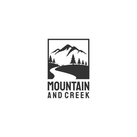 diseños de logotipos de arroyos y vistas a la montaña con árboles de hoja perenne / abetos / pinos.
