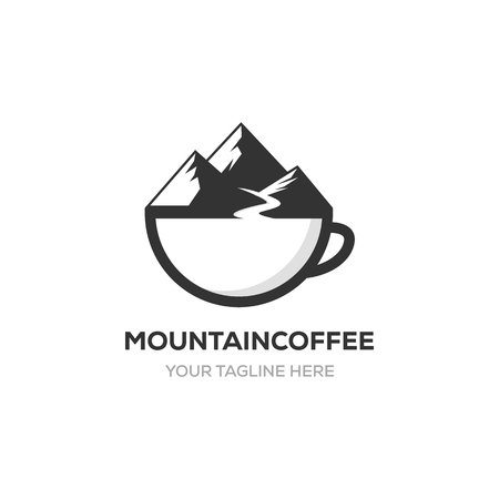 mountain and coffee cup logo design inspirations, vectors, illustrations, icons