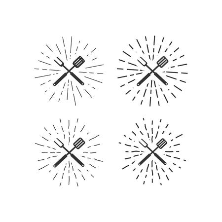 handgezeichnete Messer und Fleischerbeil isoliert auf weißem Hintergrund.Grunge-Effekte.Sunbursts.Vector illustration Vektorgrafik