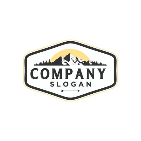 Mountain Logo. Flat design logo template. Vector Illustrator