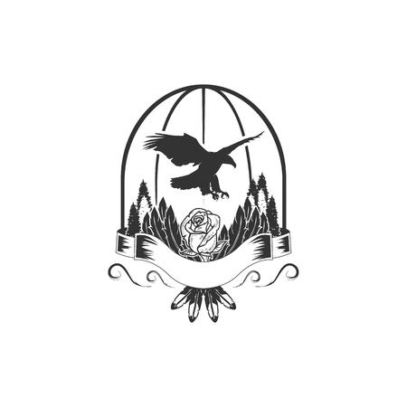 eagle during flight or landing lightning sign rays vector illustration