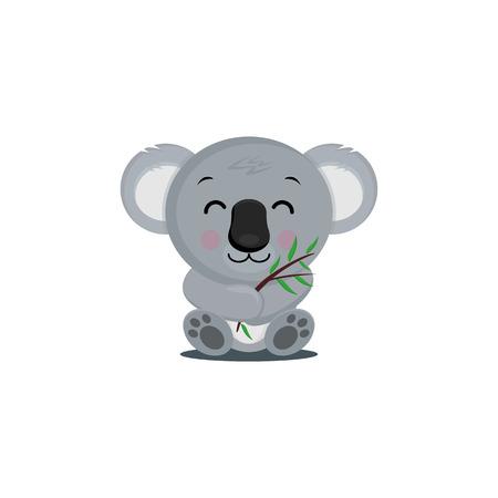 Oso De Koala En La Rama De Madera Con Hojas Verdes. Animal australiano más divertido Koala sentado en la rama de eucalipto. Ilustración vectorial de dibujos animados.