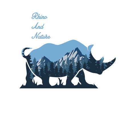 Silhouette of a rhino and wildlife. Vector illustration with mountain landscape. Double exposure with forest and mountain landscape