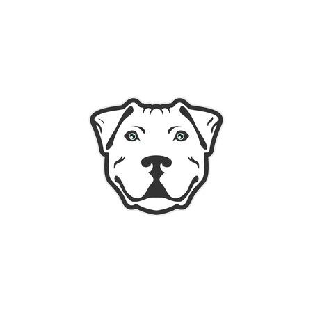 bulldog face - vector illustration