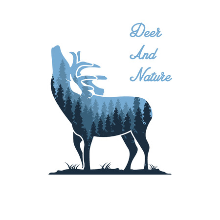 Silhouette of a deer and wildlife. Vector illustration with mountain landscape. Double exposure with forest and mountain landscape