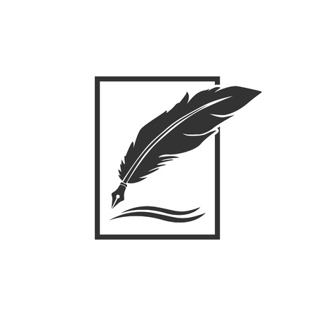 Feather pen logo template vector illustration Çizim