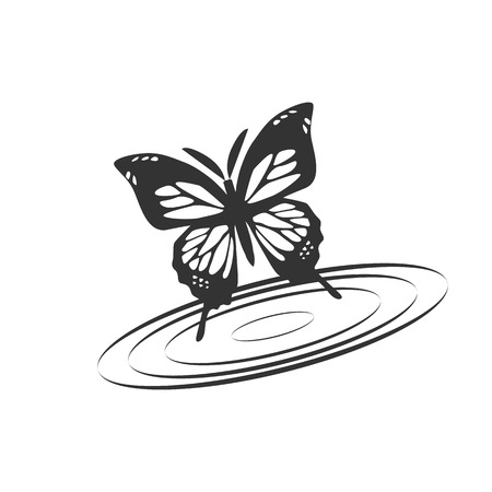 butterfly with water illustration design