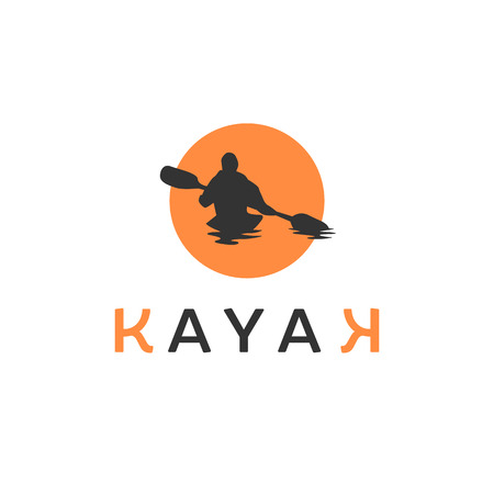 Kayaking silhouette isolated on white background vector illustration. Man holding paddle vector graphic emblem