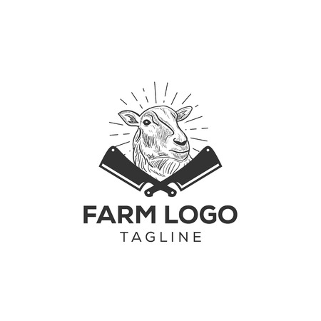 sheep logo icon design for fresh meat farm company