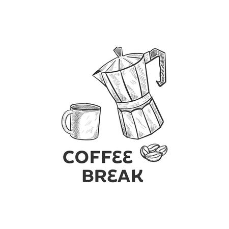 Hand drawn coffee set illustration designs Çizim