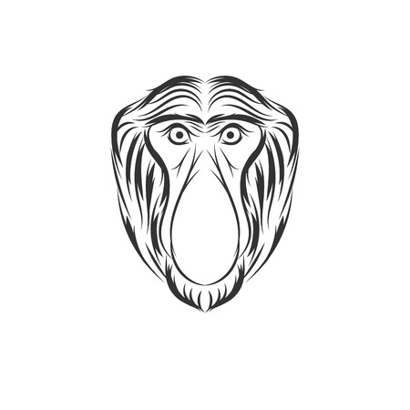 monkey proboscis or bekantan face illustration design