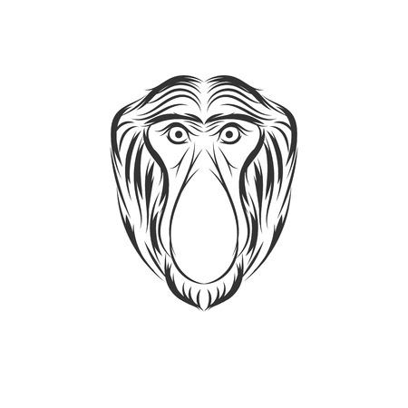 monkey proboscis or bekantan face illustration design