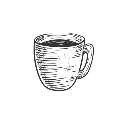 vector illustration of hand-drawn coffee cup logo on the white background