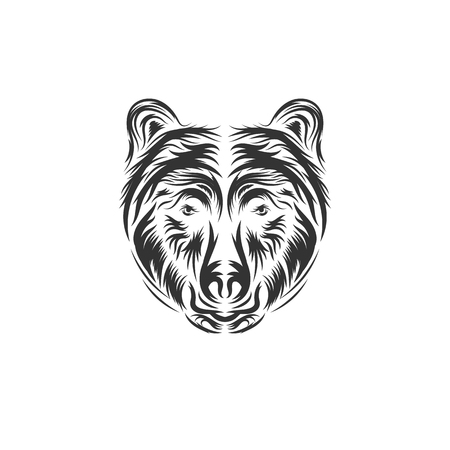Angry bear face vector illustration. Furious angry face of bear with open mouth and terrible teeth as symbol of strength and aggressiveness. Grunge style print for sport wear