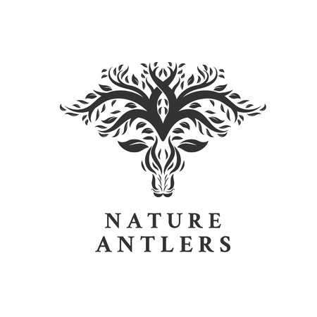 Deer Tree Leaves Forest Logo Vector icon , minimalist logo designs Illustration