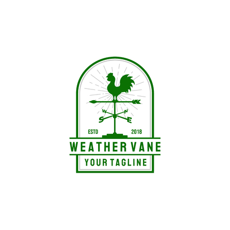 Windvane Rooster Abstract Retro Style Vector Sign, Emblem or Logo Template. Vintage Shabby Texture. Isolated. -