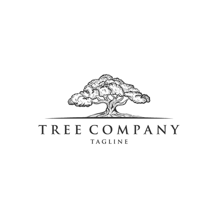 Oak Tree Concept Logo Template , hand drawn logo designs Stock Illustratie