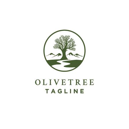disegni del logo dell'olivo con simbolo di torrenti o fiumi e montagna Logo