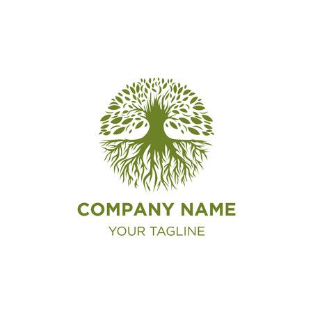 vintage oak trees logo designs , hand drawn logo