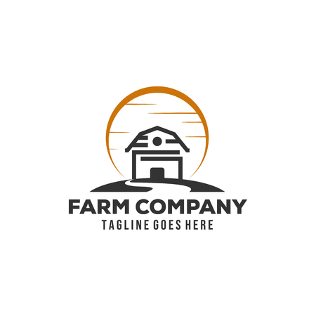Simple Minimalist Barn Farm Logo design inspiration with sun and creeks