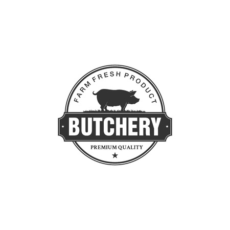 Pig, pork. Vintage logo, retro print, poster for Butchery meat shop with text, typography Pork, Meat Shop, Farm Grown, pig silhouette. Logo template for meat business, farmer shop. Vector Illustration