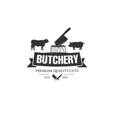 butchery logo designs , cow or angus logo and pig  , pork