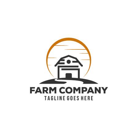Inspiración de diseño de logotipo de granja de granero minimalista simple con sol y arroyos
