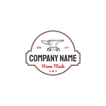 vintage anvil logo designs. Blacksmith and growth symbol or icon. Unique metal and upload logotype design template