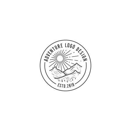 mountain adventure logo, line art style , Summer vector illustrations. Design for t-shirt