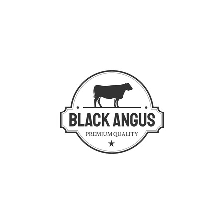 Retro Vintage Cattle / Beef Emblem Label logo design inspiration 向量圖像