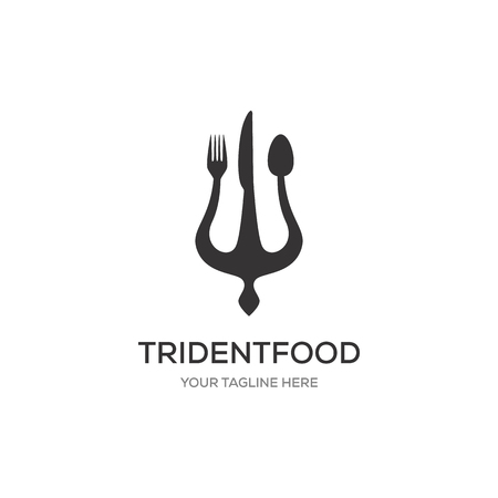 Trident Logo Template vector icon with fork and spoon symbol illustration design
