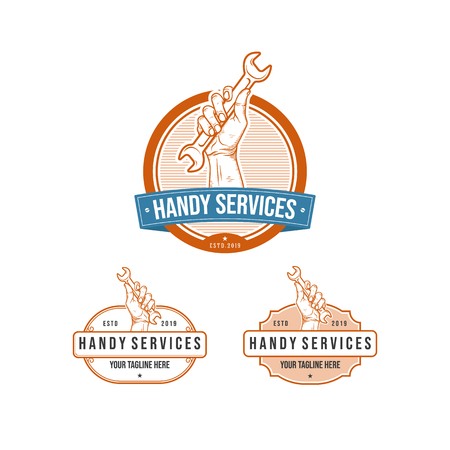vintage professional handy services logo with hand holding wrench, set logo