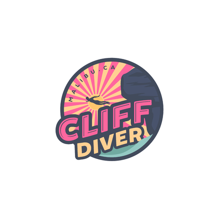 cliff diving on the beach logo designs, palm and ocean view