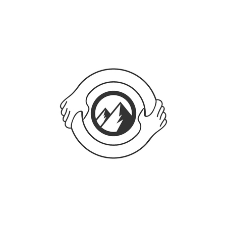 Symbol or Logo Template. Hand Shake Incorporated in Letter 0 Concept. Isolated, save the mountain idea