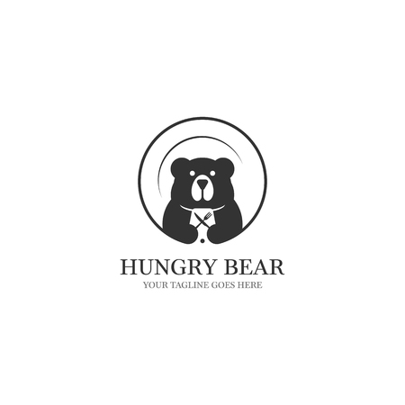 hungry bear logo designs with platen on the background and food equipment on negative space Ilustrace