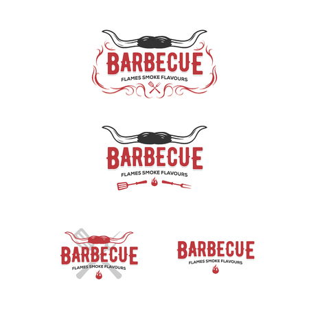 Conjunto de insignias de parrilla y barbacoa, pegatinas, emblemas Ilustración de vector