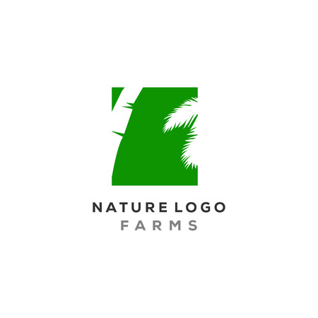 palm leaf logo designs in negative space type, nature logo palm