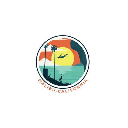 California - cliff diving - beach - vector illustration concept in vintage graphic style for t-shirt and other print production. Palms and sun logo badge. Design elements Ilustrace