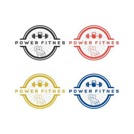 vintage fitness or gym logo designs inspirations with four colors Ilustrace