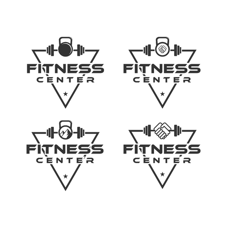 fitness center logo designs with triangle background, and barbel set Ilustrace