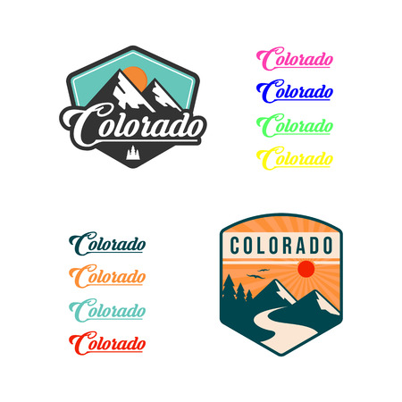 Mountain illustration, outdoor adventure . Vector graphic for t shirt and other uses. logo set Illustration