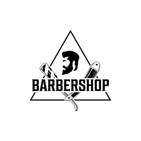 Vector Barber shop vintage logo with gentleman face isolated on a white background