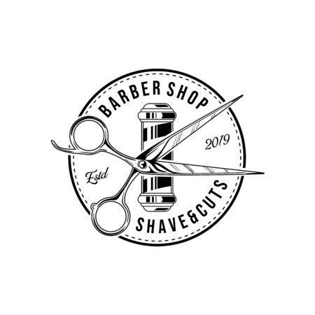 Friseursalon-Vektor-Vintage-Label, Abzeichen oder Emblem auf weißem Hintergrund. Vektorvorlage