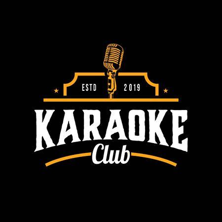 karaoke music club isolated on dark background. Design element. Template for logo, signage, branding design. Vector illustration