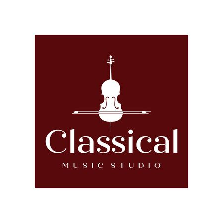 vintage Violin or Cello logo design inspiration , classic and luxury logo designs Ilustrace