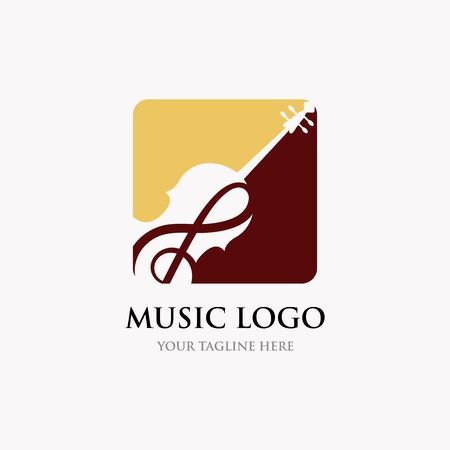 Violin / Cello logo design inspiration , classic and luxury logo designs Vectores