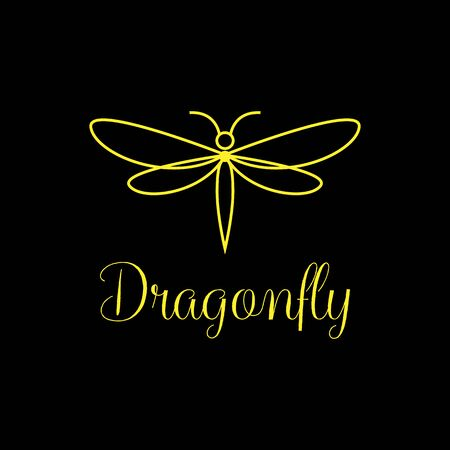 Minimalist and luxury Dragonfly logo design , line art style