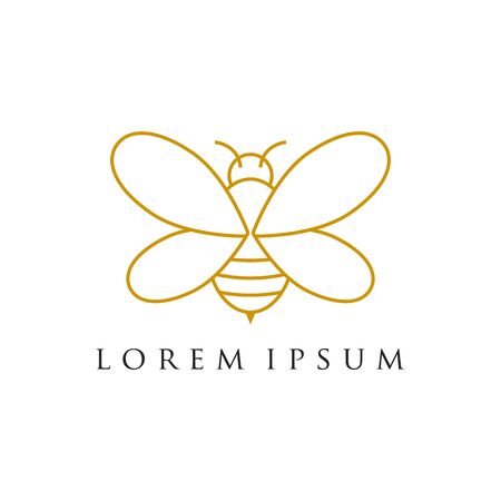 Minimalist and luxury bee logo design , line art style